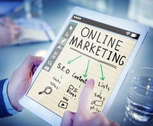 Ipad Screen Showing Online Marketing