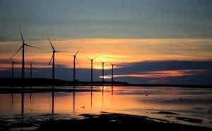 Wind Turbines in Sea Sunset