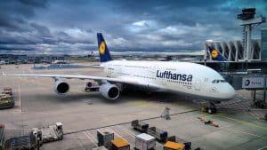 Lufthansa Aeroplane at Airport Runway