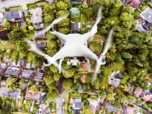 Drone Flying Over Town