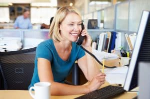 Woman on Phone Smiling