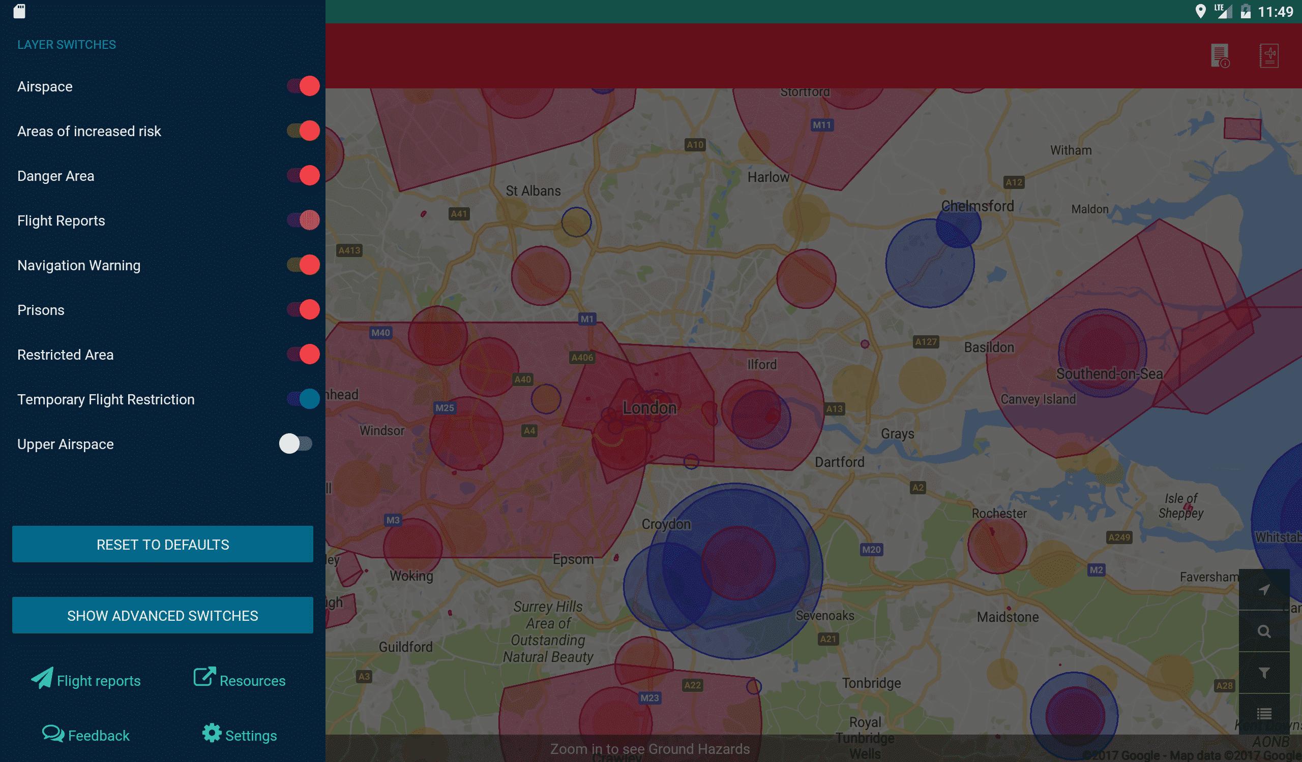 Screenshot of Coverdrone Flysafe App