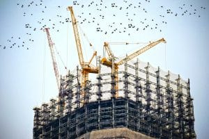 Large Construction Site with Cranes