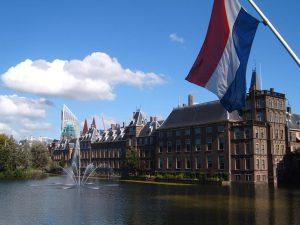 Buildings by Lake in Amsterdam
