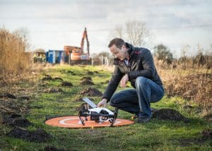 Man with Drone on Launch Pad