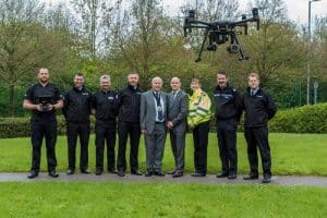 Group of Policemen with Drone