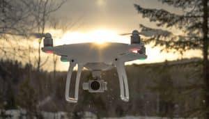 White Drone in Snowy Landscape