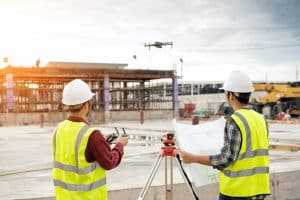 Drone Operator On Construction Site