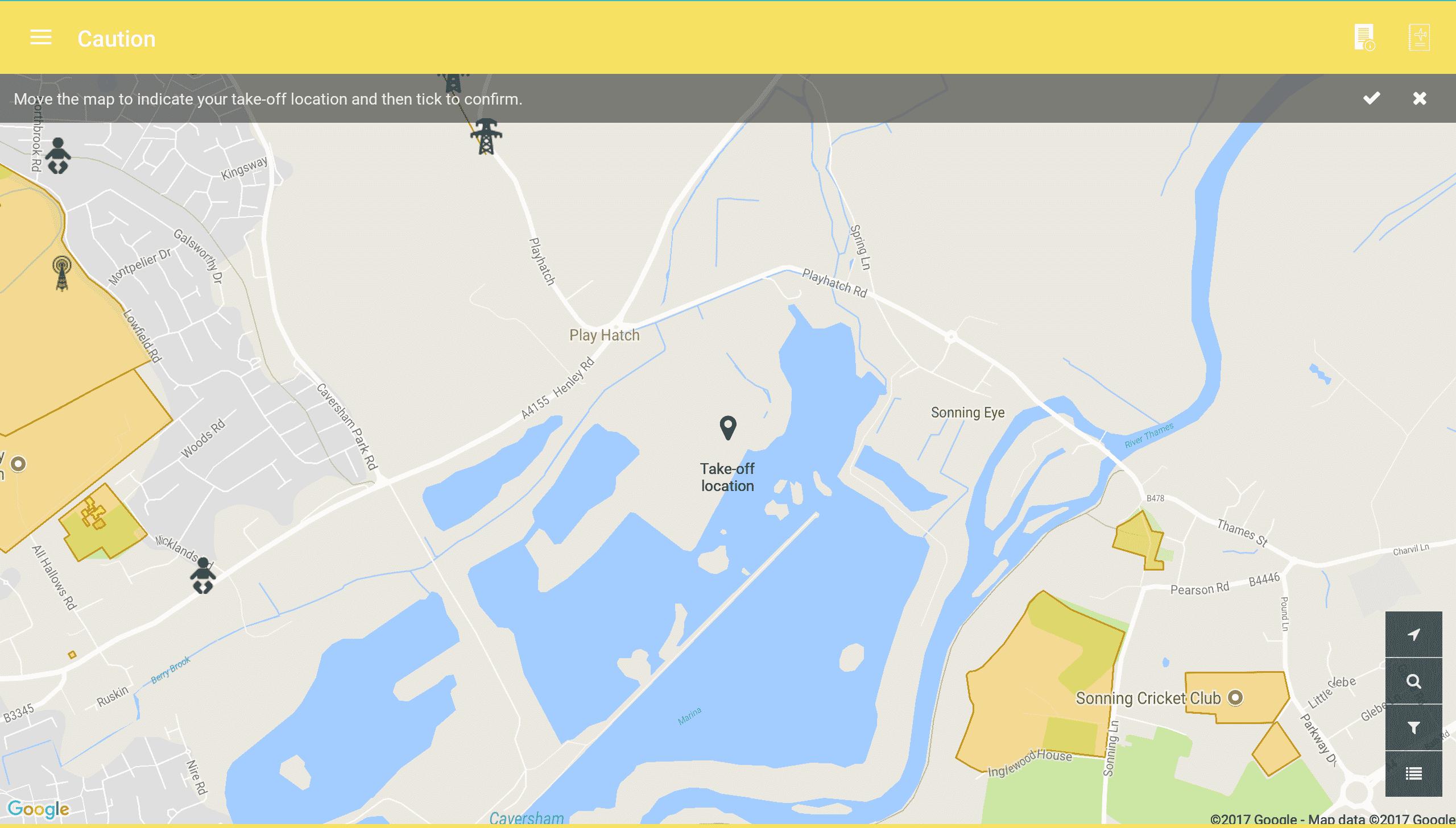 Screenshot of Caution Map