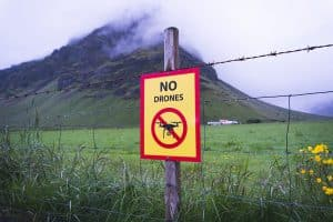 Sign Stating No Drones