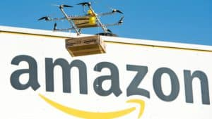 Drone Delivering Amazon Parcel