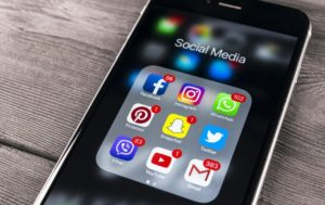 iPhone Screen Displaying Social Icons