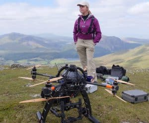 Woman Stood With Drone Equipment
