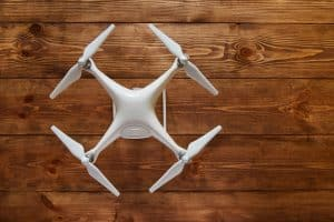 Drone Quadcopter On Wooden Background