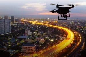 Drone Flying Above City