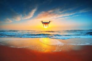 Drone Flying Over Coast