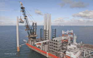 Large Construction Ship in Sea