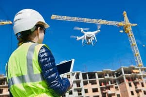 Drone Inspector Inspecting Construction Site