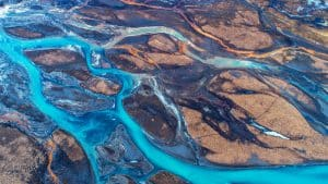 Aerial Shot River in Iceland