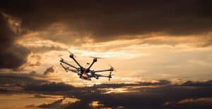 Drone Flying During Sunset