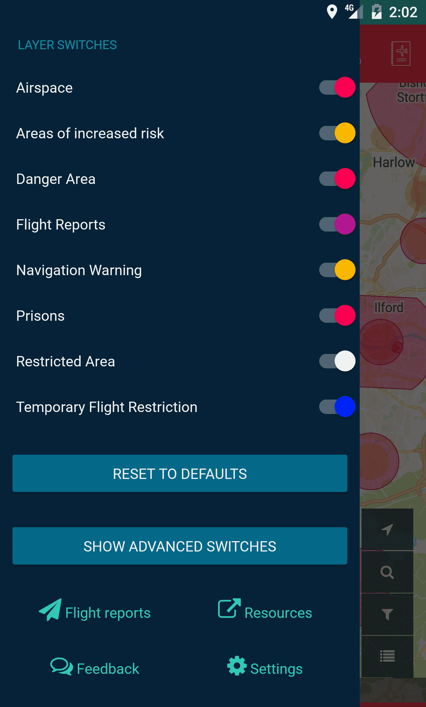 Screenshot of Flysafe App Menu