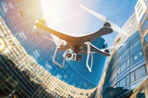 Drone Flying in Modern City