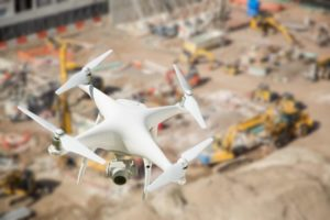 Drone Flying Over Construction Site