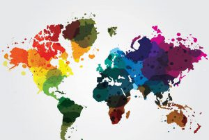 Abstract Colourful World Map