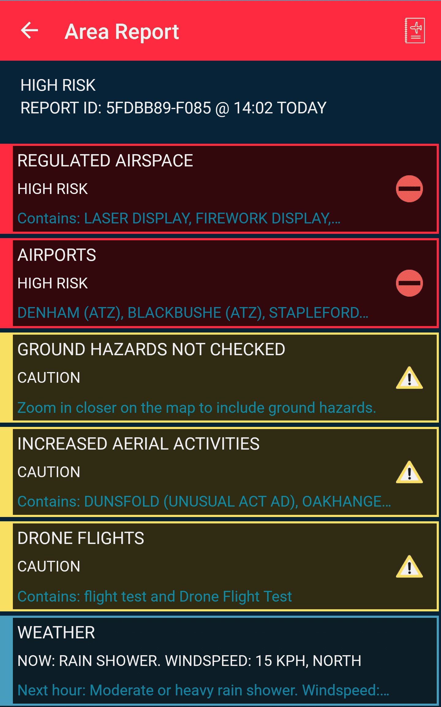 Area Report on Flysafe App