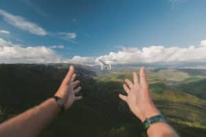 Hands Grasping Towards Drone