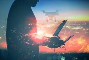 Silhouette Of Drone Operator
