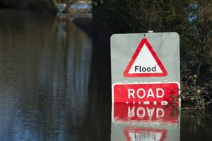 Flood Sign In Flood Water