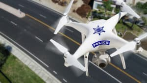 Police Drone Flying Above Street