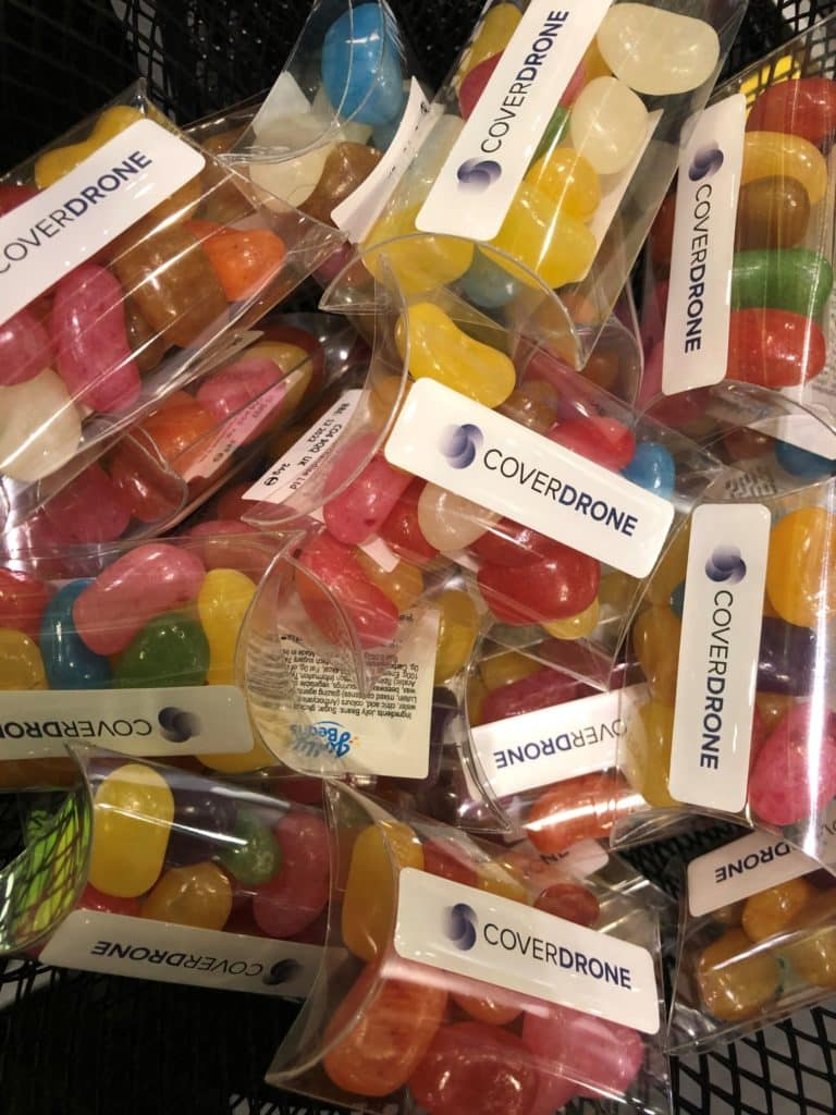 Coverdrone jelly beans, a tasty treat free for our stand visitors!