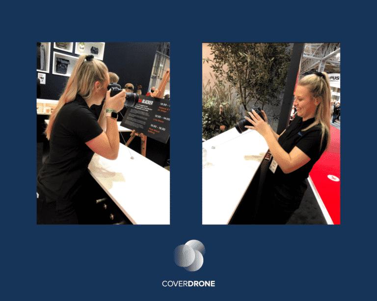 Coverdrone Marketing Executive Jess Testing Canon Cameras